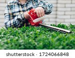Cutting a shrub with an electric brush cutter - stock photo