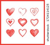 hearts doodles collection.... | Shutterstock .eps vector #1724114125