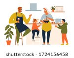 happy family cooking. mother... | Shutterstock .eps vector #1724156458