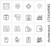 set of 16 simple line icons of...