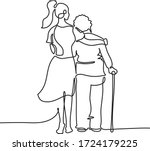 young girl nurse hugs an... | Shutterstock .eps vector #1724179225