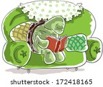 turtle sitting on a sofa and... | Shutterstock .eps vector #172418165