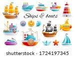 ship boat set  vector cartoon... | Shutterstock .eps vector #1724197345