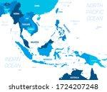 southeast asia map   green hue... | Shutterstock .eps vector #1724207248