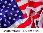 American Flag On Wooden...