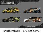 sport car wrap decal designs... | Shutterstock .eps vector #1724255392