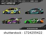 sport car wrap decal designs... | Shutterstock .eps vector #1724255422