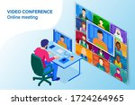 isometric video conference.... | Shutterstock .eps vector #1724264965