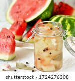 Small photo of Pickled Watermelon Rind. marinated watermelon. recipes from watermelon. concept of nutrition without waste. conservation and stocks for the winter.