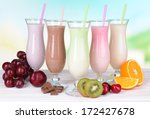 milk shakes with fruits on... | Shutterstock . vector #172427678