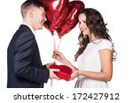gift. surprise. guy holding... | Shutterstock . vector #172427912