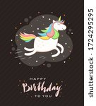unicorn with rainbow mane ... | Shutterstock .eps vector #1724295295