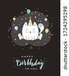 blue lettering happy birthday... | Shutterstock .eps vector #1724295298