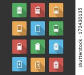battery black icons with long... | Shutterstock .eps vector #172430135