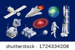 spaceship isometric. space... | Shutterstock .eps vector #1724334208
