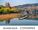 Beautiful landscape and traditional buildings in West Lake. Famous park in Hangzhou city center, China.