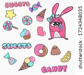 set of hand drawn stickers on a ... | Shutterstock .eps vector #1724348035