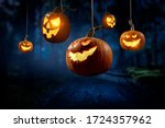 Halloween design with pumpkins ....