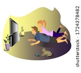 two people are lying on the... | Shutterstock .eps vector #1724378482