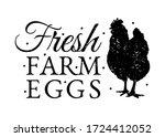 fresh farm eggs. vintage farm...   Shutterstock .eps vector #1724412052