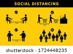 social distancing. keep the 1 2 ... | Shutterstock .eps vector #1724448235