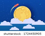 red rocket launch in space in... | Shutterstock .eps vector #1724450905