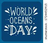 world oceans day text hand...   Shutterstock .eps vector #1724452915