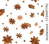 seamless star anise background. ... | Shutterstock . vector #1724497792