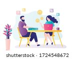 businessman talking with female ... | Shutterstock .eps vector #1724548672