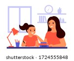 girl student is sitting at home ...   Shutterstock .eps vector #1724555848