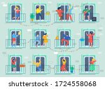 concept of quarantine. people... | Shutterstock .eps vector #1724558068