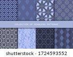 fabric print set. 8 seamless... | Shutterstock .eps vector #1724593552
