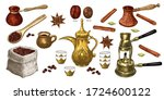 coffee clipart. hand drawn... | Shutterstock .eps vector #1724600122