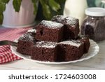 Pieces Of Chocolate Cake On A...
