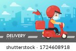 vector the food delivery staff... | Shutterstock .eps vector #1724608918