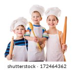 Three Young Chefs With Ladle...