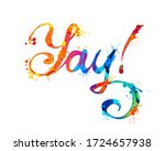 word yay  sign of calligraphic... | Shutterstock .eps vector #1724657938