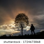 Silhouette Of A Man Near A Tre...