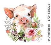 Cute Watercolor Cartoon Pig....