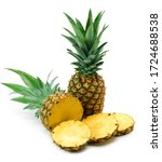 Small photo of Fresh pineapple on white. This file is cleaned, retouched, contains clipping path and is ready to use.