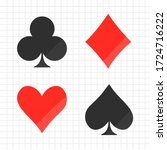 set of card suits icon isolated ... | Shutterstock .eps vector #1724716222