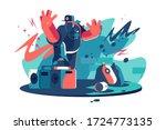 hip hop cool dude vector... | Shutterstock .eps vector #1724773135