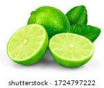 Fresh Green Lime Fruit Isolate...