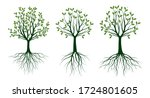 set green trees with leaves.... | Shutterstock .eps vector #1724801605