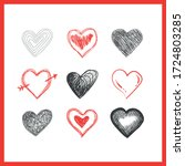 hearts doodles collection.... | Shutterstock .eps vector #1724803285