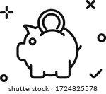 piggy bank  vector flat line...   Shutterstock .eps vector #1724825578