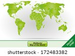 worldmap with borders in green | Shutterstock . vector #172483382