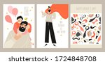 set of fathers day greeting... | Shutterstock .eps vector #1724848708