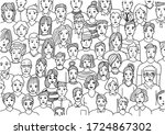 faces of people   hand drawn... | Shutterstock .eps vector #1724867302