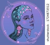 girl portrait zodiac sign... | Shutterstock .eps vector #1724873512